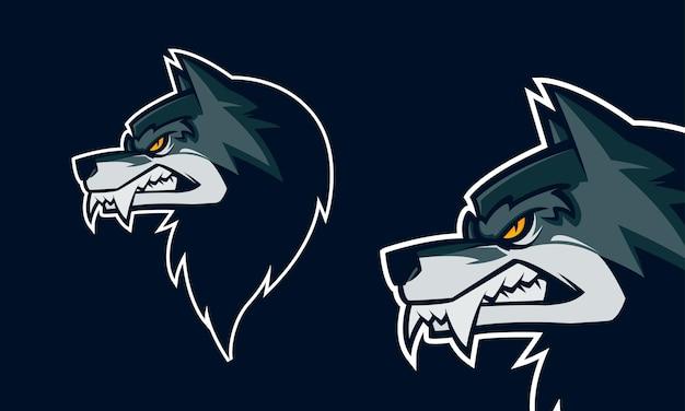 Boze wolf hoofd premium logo vector mascotte illustratie