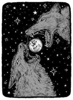 Boze wolven en maan. hand getekend vectorillustratie in zwart-wit kleuren. abstracte retro grafische tekening geïsoleerd op wit. enkel element voor ontwerp, decor.