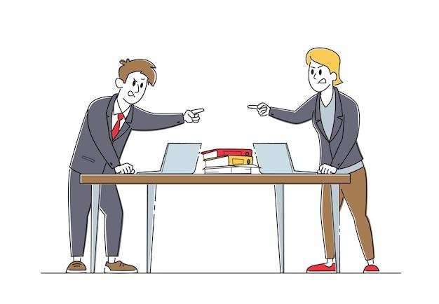 Boze zakenlieden personages hebben ruzie en vechten, zakelijke collega's ruzie in kantoor