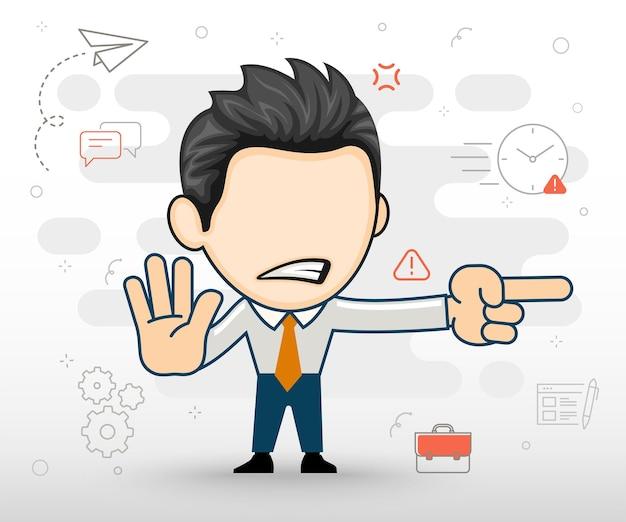 Boze zakenman toont de juiste richting vlakke afbeelding in cartoon-stijl
