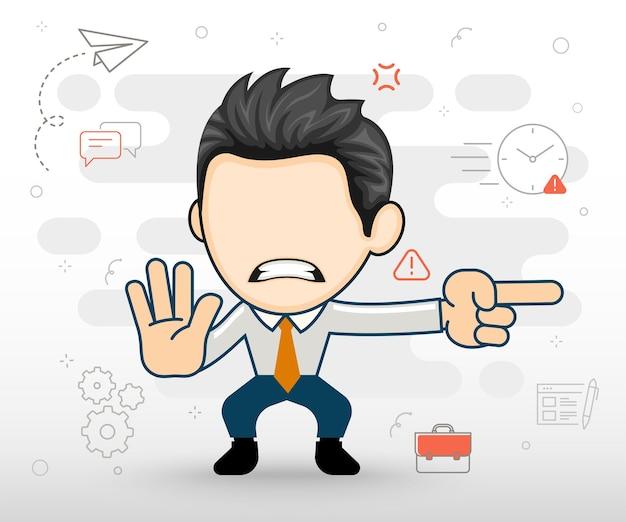 Boze zakenman wijzend in een richting vlakke afbeelding in cartoon-stijl