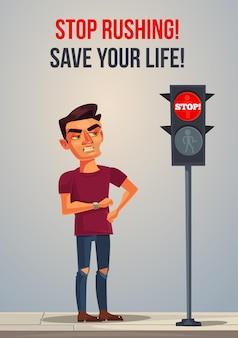 Boze zenuwen haasten late man die wacht op groen verkeerslicht