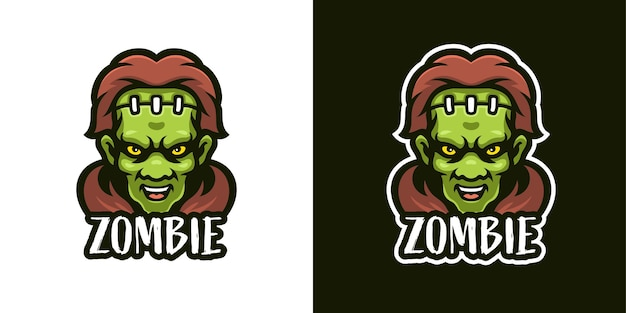 Boze zombie mascotte karakter logo sjabloon