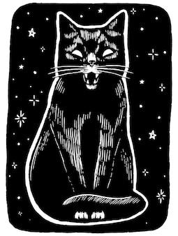 Boze zwarte kat op een sterrennachtachtergrond. hand getekend vectorillustratie. digitale schets van dier. grafische afbeelding in vintage stijl voor halloween-ontwerp, decor.