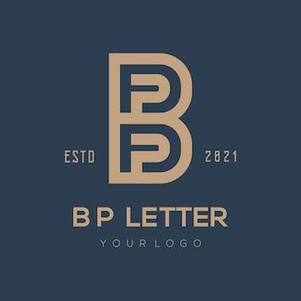Bp brief logo ontwerp vector egale kleur