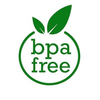 Bpa-vrij etiket met bladeren geen ftalaten en geen bisfenol a voor veilige voedselpakketstempel vinkje