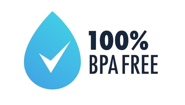 Bpa-vrij etiket met waterdruppel voor niet-giftige plastic drinkwaterflesverpakking van plastic vector