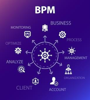 Bpm-conceptsjabloon. moderne ontwerpstijl. bevat pictogrammen als bedrijf, proces, management, organisatie