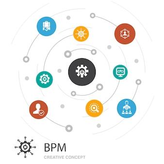 Bpm gekleurde cirkel concept met eenvoudige pictogrammen. bevat elementen als bedrijf, proces, management, organisatie