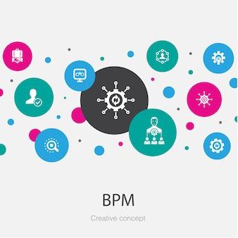 Bpm trendy cirkelsjabloon met eenvoudige pictogrammen. bevat elementen als bedrijf, proces, management, organisatie