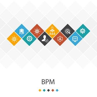 Bpm trendy ui sjabloon infographics concept. business, proces, management, organisatie pictogrammen