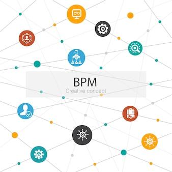 Bpm trendy websjabloon met eenvoudige pictogrammen. bevat elementen als bedrijf, proces, management, organisatie