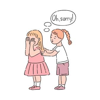 Braaf meisje kalmeert huilend meisje