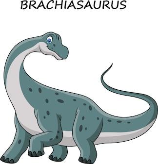 Brachiasaurus van het beeldverhaal die op witte achtergrond wordt geïsoleerd