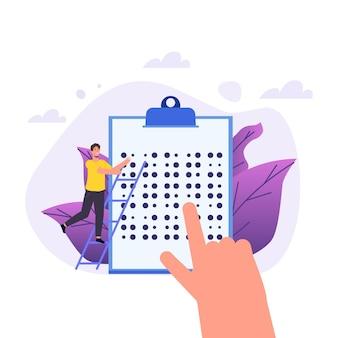 Brailletaal brailletekstconcept lezen. vector illustratie.