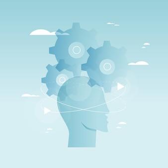 Brain functioneren, probleemoplossing, creativiteit, psychologische processen vector illustratie ontwerp