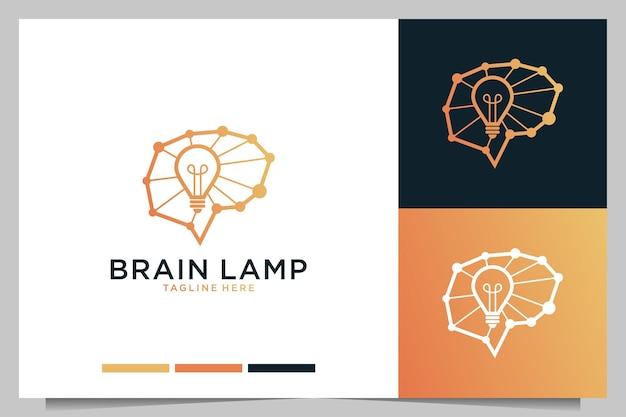 Brain idea lamp creatief logo-ontwerp
