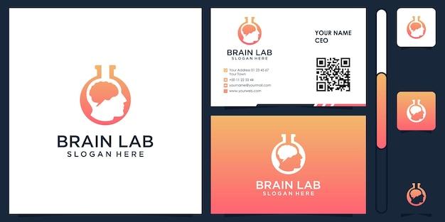 Brain lab-logo met visitekaartje ontwerp vector premium
