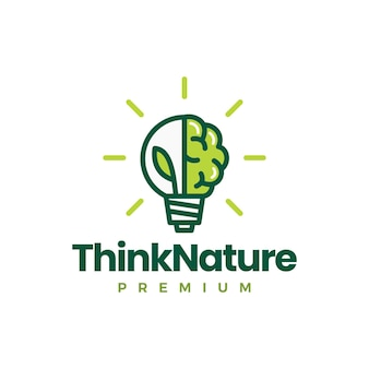 Brain leaf bulb denk natuur idee logo sjabloon