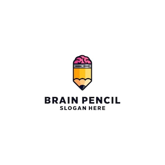 Brain pencil logo design vector