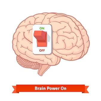 Brain power schakel aan. sterk gedachtenconcept