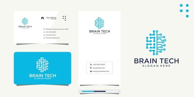 Brain tech logo-ontwerp en visitekaartje
