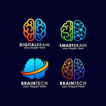 Brain tech logo-ontwerp. slim hersenlogo ontwerp