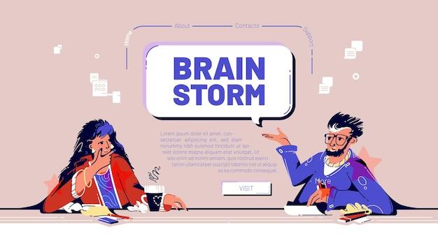 Brainstorm banner met teamvergadering in het kantoor van het bedrijf