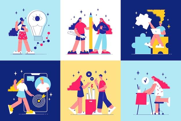Brainstorm over composities met jonge mensen die zich bezighouden met het creëren van moderne projecten