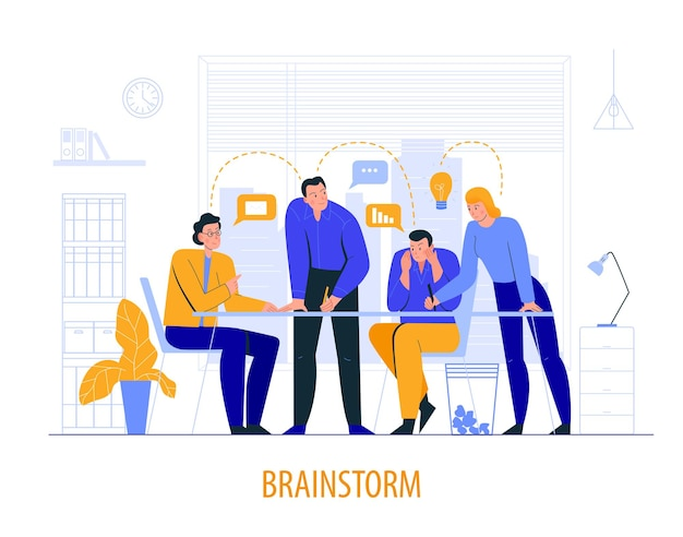 Brainstorm over illustratie met collega's tijdens de vergadering