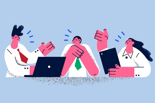 Brainstorm, zakelijke discussie en communicatieconcept. jonge lachende zakenmensen stripfiguren zitten bespreken zakelijk project op kantoor met ideeën in gedachten vectorillustratie