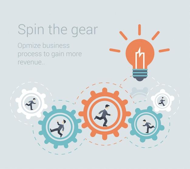 Brainstormen effectief proces teamwork innovatie samenwerking personeelsbestand concept platte ontwerp illustratie