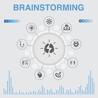 Brainstormen infographic met pictogrammen. bevat iconen als verbeelding, idee, kans, teamwork