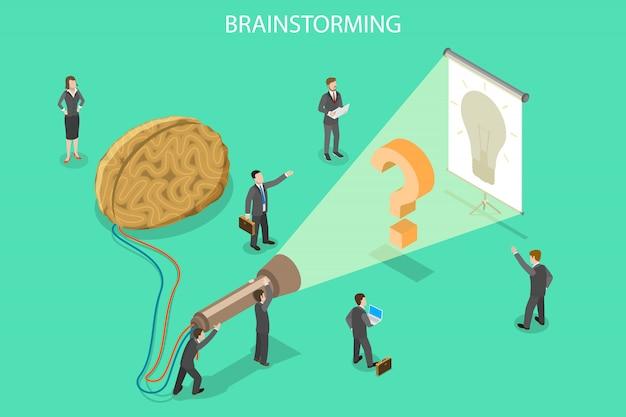 Brainstormen, innovatie en oplossing isometrische platte vector concept.