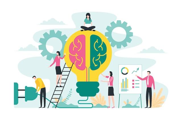 Brainstormen over creatief ideeconcept met grote gloeilamp en hersenenillustratie