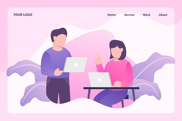 Brainstormen over creatief werk met man en vrouw die op laptop werkt voor websitesjabloon of landingspagina