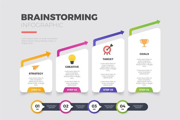 Brainstormen over infographics in plat ontwerp Premium Vector