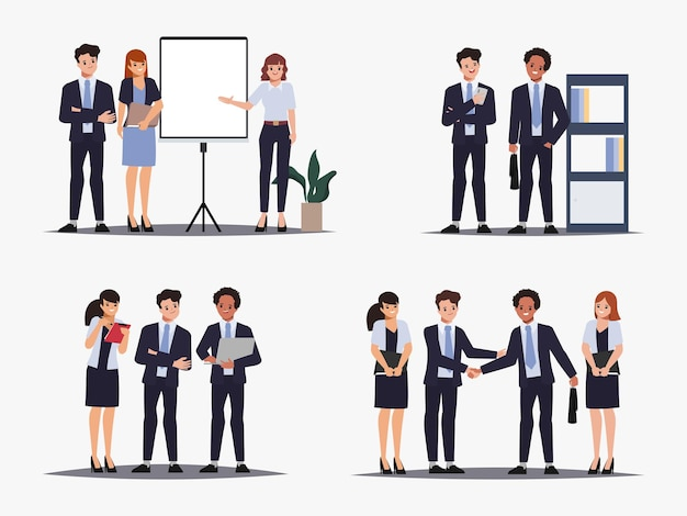 Brainstormen teamwerk karakter zakelijke mensen teamwerk kantoor karakter animatie