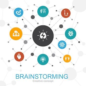 Brainstormen trendy webconcept met pictogrammen. bevat iconen als verbeelding, idee, kans, teamwork