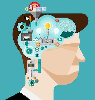Brainstormen zakenman creëren idee