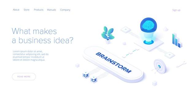 Brainstormsessie concept in isometrisch ontwerp. sjabloon voor spandoek web