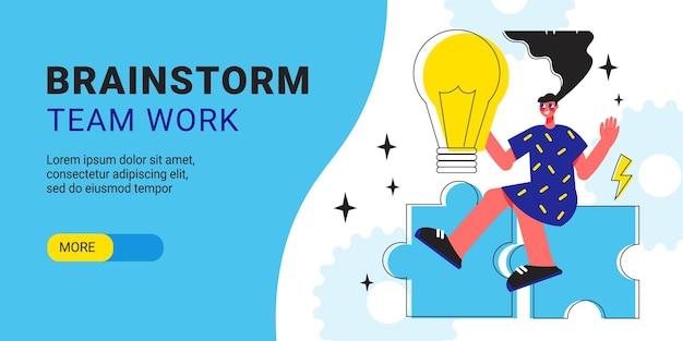 Brainstormteam werkt horizontale banner met creatieve puzzelgame-elementen voor jong meisje en gloeilamp