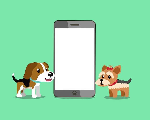 Brakhond en de terriërhond van yorkshire met smartphone