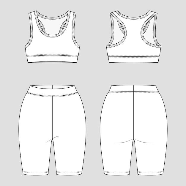 Bralette met racerback en leggingshorts. sportkleding voor dames. activewear-set.