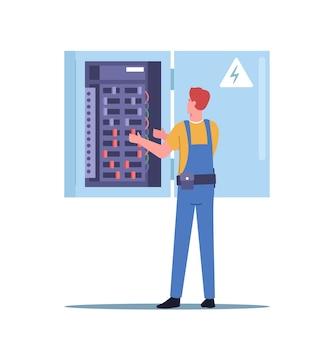 Brand, energie en elektrisch veiligheidsconcept. foreman elektricien karakter in robe overall onderzoeken werkontwerp of meet de spanning op het dashboard. reparatie aan huis. cartoon mensen vectorillustratie