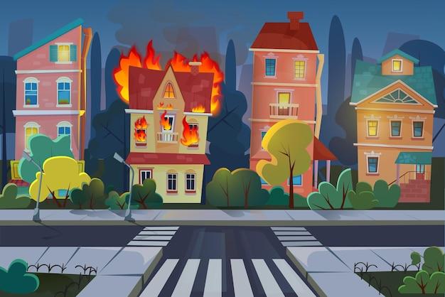 Brand in stadsbouw, woonhuispanorama met brandende appartementen binnen 's nachts
