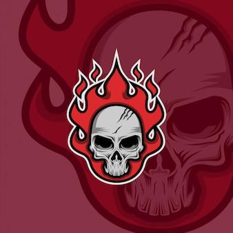 Brand schedel mascotte logo
