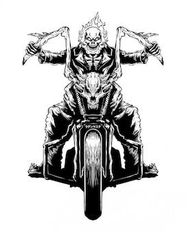 Brand schedel motor biker hand getrokken illustratie