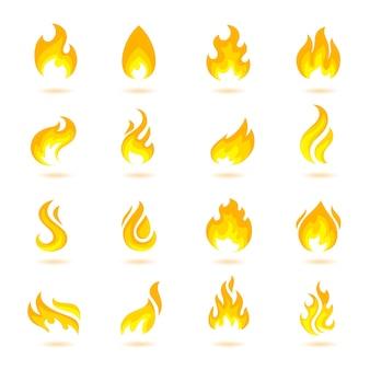 Brand vlam brand flare fakkel hel vurige pictogrammen set geïsoleerde vector illustratie