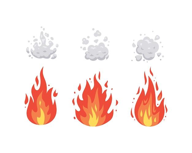 Brand vlam pictogrammen in cartoon. vlammen in verschillende vormen. vuurbal set, vlammende symbolen.